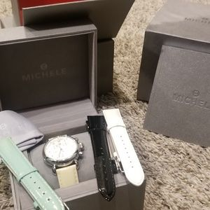 Authentic MICHELE watch + bands